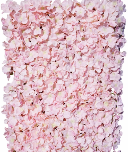 blush pink hydrangeas floral wall display