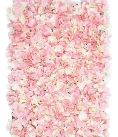 cream and pink hydrangeas wall of flowers
