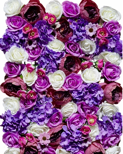pink and purple flower wall