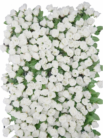 wedding flower wall white and green leaves