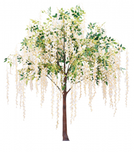 ivory colored flowers and greenery weeping tree rental