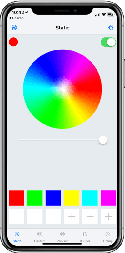 app screen shot of color changing lights with a full color wheel