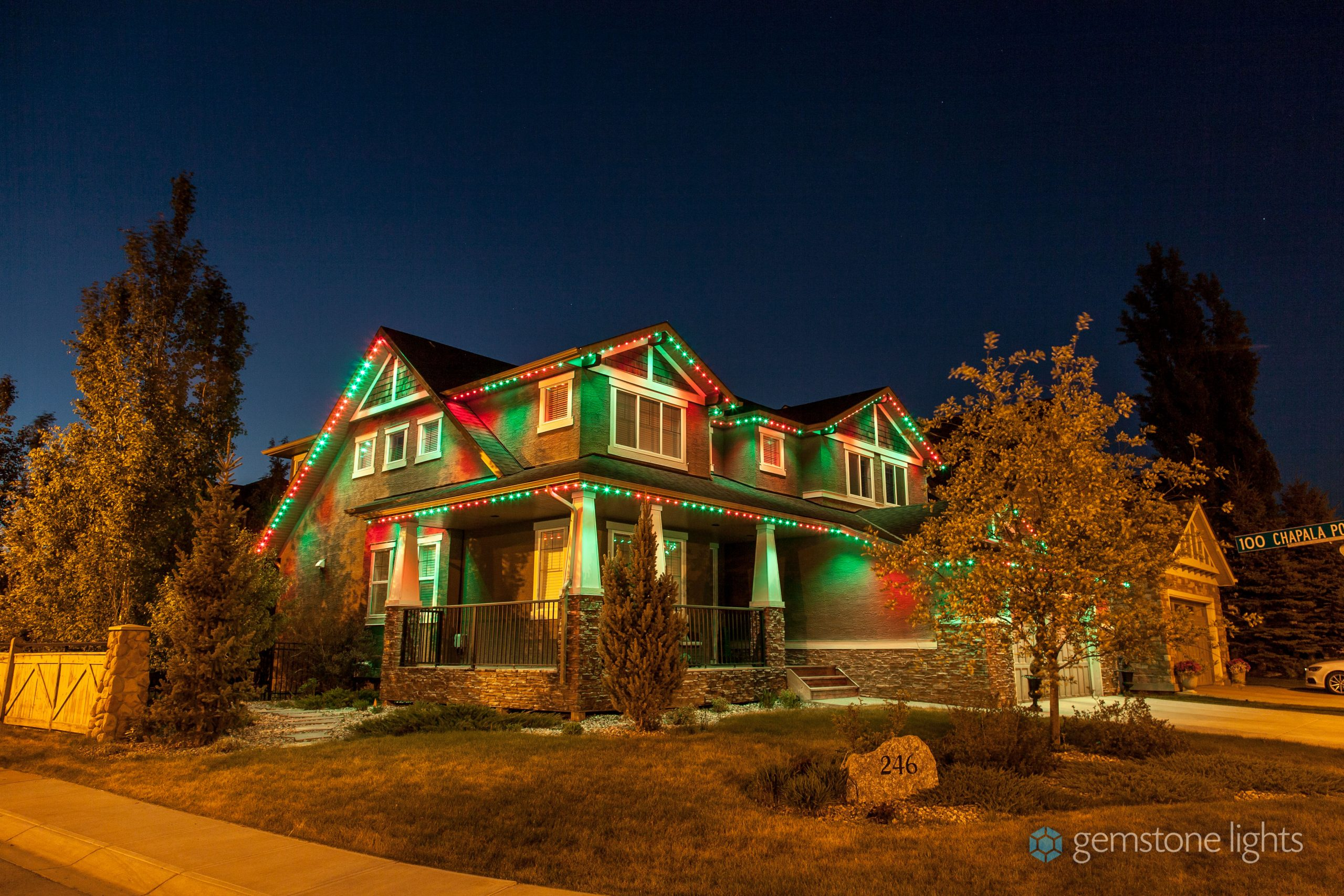 permanent Christmas lights that change color on a house